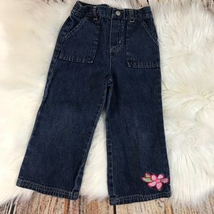 Faded Glory Embroidered Flower Toddler Jeans
